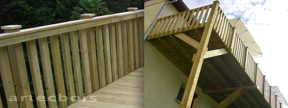 Balcons et terrasses en bois en hauteur rambardes et - Garde corps terrasse pas cher ...